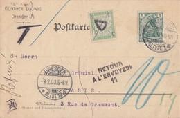 DR Karte EF Minr.70 Dresden 5.2.03 Gel. Nach Paris Nachporto Und Retour - Briefe U. Dokumente
