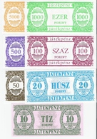 Ungarn  Spielgeld 10 - 5000 Forint 7 Banknoten UNC - Ungheria