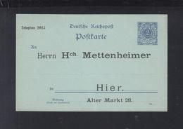 Dt. Reich GSK 2 Pfennig Reichspost Mettenheimer - Interi Postali