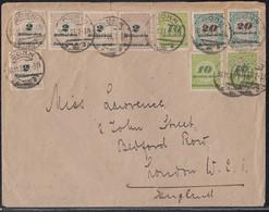 DR Brief Mif Minr.5x 326A,3x 328A,2x 329A Bonn 30.11.23 Gel. Nach London Noverberbrief Letzttag - Deutschland