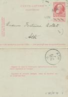 686/26 - Annulation Par GRIFFE LINEAIRE à L' Arrivée - Carte-Lettre Grosse Barbe ATH Ex Bruxelles 1908 - Poststempel