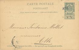 687/26 - Annulation Par GRIFFE LINEAIRE à L' Arrivée - Entier Postal Armoiries ATH Ex Anvers 1897 - Poststempel