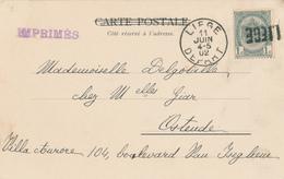 688/26 - Annulation Par GRIFFE LINEAIRE Au Départ - Carte-Vue TP Armoiries LIEGE 1902 Vers Ostende - Poststempel