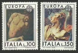 ITALY 1975 EUROPA ART RELIGIOUS PAINTINGS CARAVAGGIO TIEPOLO SET MNH - 6. 1946-.. Republic