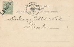 689/26 - Annulation Par GRIFFE LINEAIRE à L' Arrivée - Carte-Vue TP Armoiries LANDEN Ex GAND 1901 - Poststempel