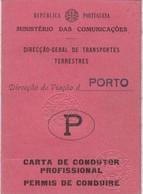 Portugal - Carta De Condução - Permis De Conduire  - Old Cars - Voitures - Old Paper