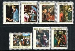 """Guinea Bissau    """"Christmas 1989-Paintings""""     Set    SC# 865-71   MNH - Christmas"""
