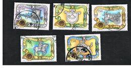 ITALIA REPUBBLICA  - SASS. 2074.2078   -   1993   I TASSO E LA STORIA POSTALE     -            USATO - 6. 1946-.. Repubblica