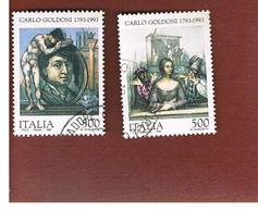 ITALIA REPUBBLICA  - SASS. 2047.2048    -   1993  CARLO GOLDONI      -            USATO - 6. 1946-.. Repubblica