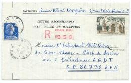 MARIANNE DE MULLER /  ORAN RP ALGERIE EN RECOMMANDE / POSTES AUX ARMEES AU VERSO - Postmark Collection (Covers)