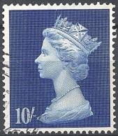 Great Britain - 1969 Queen Elizabeth II,  10sh Ultramarine # S.G. 789 - Michel 509 - Scott MH20 USED - Machins