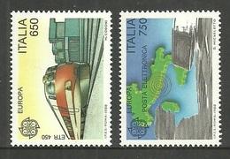 ITALY 1988 EUROPA TRANSPORT & COMMUNICATIONS TRAINS SET MNH - 6. 1946-.. Republic
