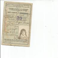 CARTE D IDENTITE 1930 12X8 - Old Paper