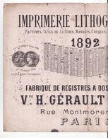 Buvard   IMPRIMERIE GERAULT  à Paris   Rue Montmorency    Année 1892    Grand Format    33 X 25 Cm - Buvards, Protège-cahiers Illustrés