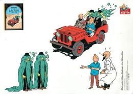 """HERGE - ILLUSTRATEUR - TINTIN EN VOITURE - BELLE PLANCHE DE DECALCOMANIS - """"TINTIN AU PAYS DE L'OR NOIR """" - (15 X 21 Cm) - Hergé"""
