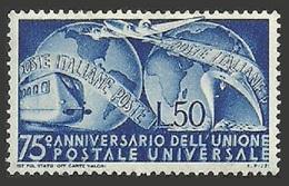 ITALY 1949 UPU OMNIBUS TRAINS RAILWAYS AIRCRAFT SHIPS SET MNH - 6. 1946-.. Republic