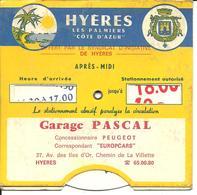 Disque De Stationement, Var, Hyeres, Publicité : Garage Pascal     (bon Etat) - Old Paper