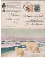 A Bord Du FRAM Cachet POLHAVET Noth Pole Nord Arctic Ocean Océan Glacial Polar See Arctic Ice Bear Illustrator TH - Noorwegen