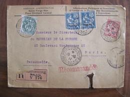 Lettre LEVANT 1911 Constantinople FRANCE TURQUIE OTTOMAN Paire Cover Colonie GALATA Enveloppe Empire Recommandé - Brieven En Documenten