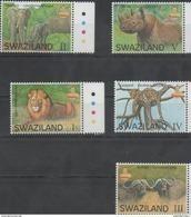 SWAZILAND , 2017, MNH, BIG FIVE, LIONS, LEOPARDS, ELEPHANTS, BUFFALO, RHINOS, 5v - Big Cats (cats Of Prey)