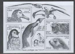 TAAF, FRENCH ANTARCTIC, 2018, MNH ,PROTECTED FAUNA, BIRDS, PENGUINS, ALBATROSS, SEALS, SHEETLET - Penguins