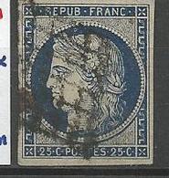 CERES N° 4 BLEU FONCE Variétée Anneau Lune OBL  TB - 1849-1850 Cérès
