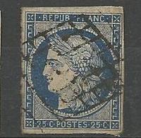 CERES N° 4 BLEU OBL  TB - 1849-1850 Ceres