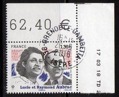 France 2018.Lucie Et Raymond AUBRAC.cachet Rond Gomme D'Origine. - France