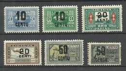 LITHUANIA Litauen 1922 = 6 Werte Aus Michel 176 - 186 * (Mi 176 Ohne Gummi/no Gum) - Lituania