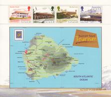 2001 Ascension Tourism Map Carte Turtle Ponds Complete Set Of 1 Miniature Sheet Of 4 - Ascension