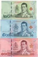 THAILAND  New Set  20/50/100 Baht    New King Rama 10    2018    Pnew       UNC - Thailand