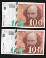 France  Lot De  10 Billets  100 F Delacroix Années 1997 Et 1998    Soldés  ! ! ! - 1992-2000 Dernière Gamme