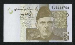 Pakistan BANKNOTE 5 Rupees 2008 Signature SHAMSHAD AKHTAR - Pakistan