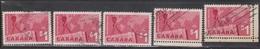 CANADA Scott # 411 Used X 5 - Canadian Exports 5 Copies - 1952-.... Reign Of Elizabeth II