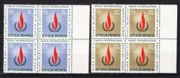 Indonesia 1968 Mi#596-597 Mint Never Hinged Blocks Of Four - Indonésie