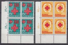 Indonesia 1969 Red Cross Mi#637-638 Mint Never Hinged Blocks Of Four - Indonésie