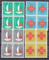 Indonesia 1963 Red Cross Mi#403-406 Mint Never Hinged Blocks Of Four - Indonésie