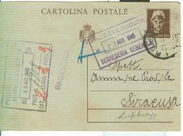 CARTOLINA POST. TURRITA CON STEMMA £ 1,20,TIMBRO POSTE MELILLI (SIRACUSA),1945,PER SIRACUSA, - 5. 1944-46 Luogotenenza & Umberto II