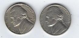 Lot De 2 Pièces Five Cents US 1959 Et 1976 - Émissions Fédérales