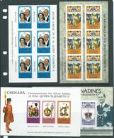 Grenada & Grenadines 1977 Silver Jubilee Booklet Panes X 4 Different - Grenada (1974-...)