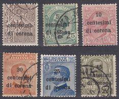 VENEZIA GIULIA, EMISSIONI GENERALI - 1919 - Lotto Sei Valori Usati, Unificato 1, 3, 4, 5, 6 E 8. - 8. WW I Occupation