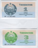 UZBEKISTAN 61-64 1992 1, 3, 5, 10 Sum UNC - Uzbekistan