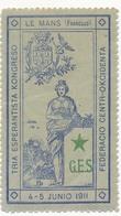 FRANCE - 3 Vignettes ESPERANTO - Le Mans 4-5 Juin 1911 - Commemorative Labels