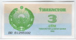 UZBEKISTAN 62 1992 3 Sum UNC - Uzbekistan