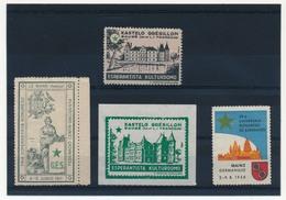 FRANCE - 4 Vignettes ESPERANTO - Le Mans 4-5 Juin 1911 / Chateau Grésillon SAUGÉ / Congrès Mayence 1958 - Commemorative Labels