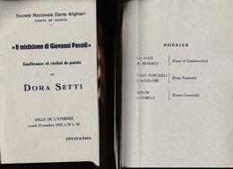 SOCIETA DANTE ALIGHIERI MISTICISMO DI PASCOLI DORA SETTI COMITA GENEVE (16786SC1 - Programmi