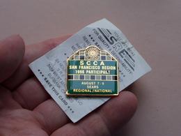 SPORTS CAR CLUB Of AMERICA ( SCCA San Francisco Region 1998 August 7 - 9 SEARS ) Pin - Brooch ! - Badges