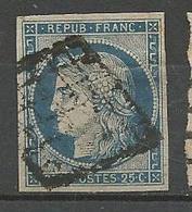 CERES N° 4 BLEU OBL  PLI - 1849-1850 Ceres