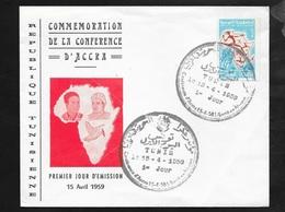 Tunisie FDC Lettre Illustrée Premier Jour Tunis Le 15/4/1959 Le N° 497 Journée De La Liberté En Afrique   TB - Tunisia