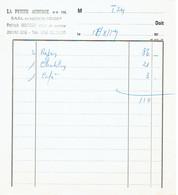 Ancienne Facture Du Restaurant La Petite Auberge, Patrick Montero, Die (16/8/1979) - Sports & Tourisme